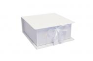 Pudełko na zdjęcia, 10x10 białe ekoskóra, 12x12 cm