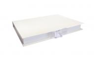 Pudełko na fotoksiażkę, 20x20 białe z ekoskóry , 24x24 cm