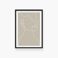 Plakat w ramce, Kolekcja Grafikk Jasikk - Duma beż - czarna ramka, 20x30 cm