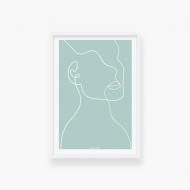 Plakat w ramce, Kolekcja Grafikk Jasikk - Duma błękit - biała ramka, 20x30 cm