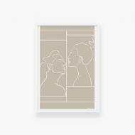 Plakat w ramce, Kolekcja Grafikk Jasikk - Namiętność beż - biała ramka, 20x30 cm
