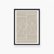Plakat w ramce, Kolekcja Grafikk Jasikk - Namiętność beż - czarna ramka, 20x30 cm