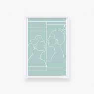 Plakat w ramce, Kolekcja Grafikk Jasikk - Namiętność błękit - biała ramka, 20x30 cm