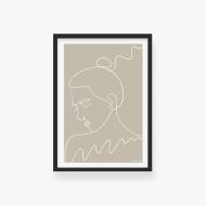 Plakat w ramce, Kolekcja Grafikk Jasikk - Nostalgia beż - czarna ramka, 20x30 cm