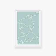 Plakat w ramce, Kolekcja Grafikk Jasikk - Nostalgia błękit - biała ramka, 20x30 cm