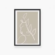 Plakat w ramce, Kolekcja Grafikk Jasikk - Równowaga beż - czarna ramka, 20x30 cm