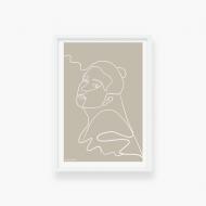 Plakat w ramce, Kolekcja Grafikk Jasikk - Spokój beż - biała ramka, 20x30 cm