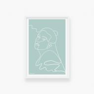 Plakat w ramce, Kolekcja Grafikk Jasikk - Spokój błękit - biała ramka, 20x30 cm