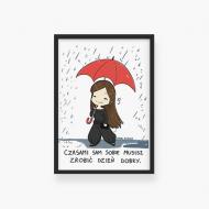 Plakat w ramce, Kolekcja Rynn rysuje - Zrób sobie dzień dobry, 20x30 cm