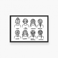 Plakat w ramce, Kolekcja Nie mogę, trzymam dziecko - Instrukcja fryzury, 30x20 cm
