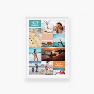 Plakat w ramce, Wakacje nad morzem - kolaż- biała ramka, 20x30 cm