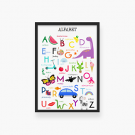 Plakat w ramce, Alfabet - czarna ramka, 20x30 cm