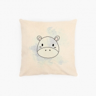 Poduszka, bawełna ekologiczna, Hipopotam, 40x40 cm