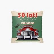 Poduszka, bawełna, 50te urodziny, 38x38 cm