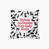 Poduszka, bawełna, Kolekcja Typowy Kot - Byłam normalna 3 koty temu, 38x38 cm