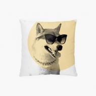 Poszewka, bawełna, Pies w okularach, 38x38 cm