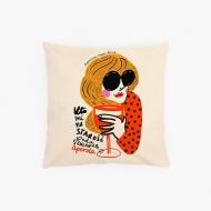 Poduszka, bawełna ekologiczna, Kolekcja Porysunki - Aperol, 40x40 cm