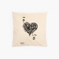 Poduszka, bawełna ekologiczna, Kolekcja Porysunki - Ona i on, 40x40 cm