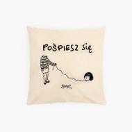 Poduszka, bawełna ekologiczna, Kolekcja Porysunki - Pośpiesz się, 40x40 cm