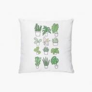 Poduszka, bawełna, Kolekcja Długopisem Malowane - Mix roślin, 38x38 cm