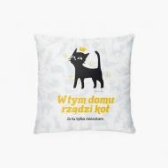 Poduszka, bawełna, Kolekcja Typowy Kot - W tym domu rządzi kot, 38x38 cm