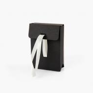 Koperta na zdjęcia, Czarna z beżową wstążka, 12x17 cm