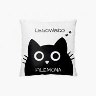 Poduszka, bawełna, Legowisko Czarny Kot, 38x38 cm