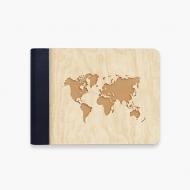 Album drewniany Mapa świata, 18x14 cm