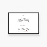 Plakat w ramce, Kolekcja Kura rysuje - Śpię, wstałam, 30x20 cm