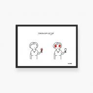 Plakat w ramce, Kolekcja Kura rysuje - Winna transfuzji, 30x20 cm