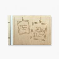 Album drewniany Miś, 34x23 cm