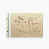 Album drewniany Nasze Wakacje, 34x23 cm