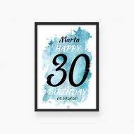 Plakat w ramce, Plakat na urodziny 30stka- czarna ramka, 20x30 cm