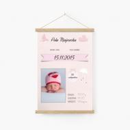 Obraz na sznurku, Metryczka różowa, 20x30 cm