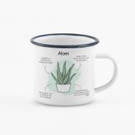 Kubek, Kolekcja Długopisem Malowane - Aloes Zwyczajny - kubek emaliowany