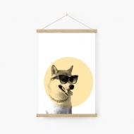 Obraz na sznurku, Pies w okularach, 20x30 cm