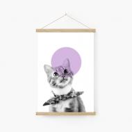 Obraz na sznurku, Kot z muchą, 20x30 cm