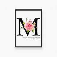 Plakat w ramce, Plakat typograficzny dla Mamy- czarna ramka, 20x30 cm