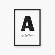 Plakat w ramce, Twoja litera - czarna ramka, 20x30 cm