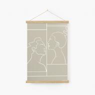 Obraz na sznurku, Kolekcja Grafikk Jasikk - Namiętność beż, 20x30 cm
