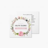 Fotokartki Chrzest - różowe kwiaty, 14x14 cm
