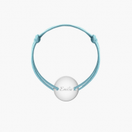 Bransoletka sznurkowa Koło przylegające posrebrzane, niebieski