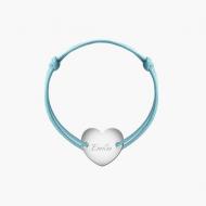 Bransoletka sznurkowa Serce przylegające posrebrzane, niebieski