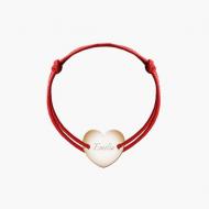 Bransoletka sznurkowa Serce przylegające pozłacane, czerwony
