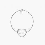 Bransoletka łańcuszek Łańcuszek z przylegającym sercem, srebrny