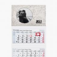 Kalendarz trójdzielny, Kwiaty, 30x85
