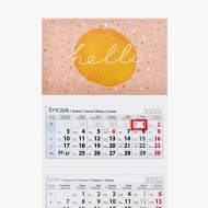 Kalendarz trójdzielny, Lastryko typograficzny, 30x85