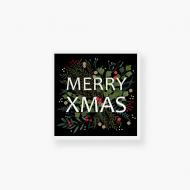 Plakat w ramce, Merry Xmas - Czarny, 40x40  cm