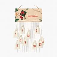 Kalendarz adwentowy, Skarpeta i prezent , 37x18 cm