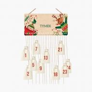 Kalendarz adwentowy, Świąteczne zwierzątka, 37x18 cm